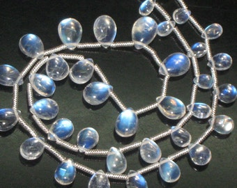 AAAAA -SO GORGEOUS Outstanding High- Quality - Size 4x6 - 7x10.5 mm Full Blue- Moon -  Flashy Strong Fire -Rainbow Moonstone- Smooth -Pear