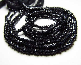 14 inches super sparkley Black Spinel micro faceted rondell beads  3.- 3.25 MM