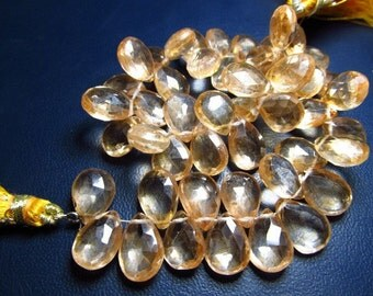 8 Inches - Very Finest -super sparkle - Sun Kissed - Yellow Mystic Quartz Micro Faceted - Pear  Briolett - Size 13 - 8 mm Approx