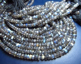 AAAA - 2 strand - 14 inches gorgeous flashy fire Labradorite Micro faceted rondell beads size 4 mm approx