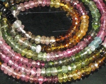 14 inches Gorgeous Tourmaline Micro Faceted Rondell Beads size 3.75 mm approx Great Quality Great Price