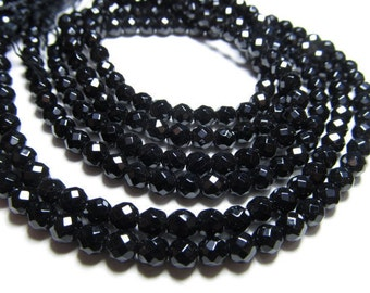 15 inches - so gorgeous - supe sparkle - celabrated size - BLACK ONYX - micro faceted - disco round ball beads size 4  mm great quality