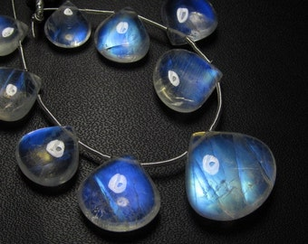 AAAAA - Truly Awesome - Amazing Flashy Blue fire Rainbow moonstone Smooth Heart briolett Huge size 9 - 17 mm 9pcs approx
