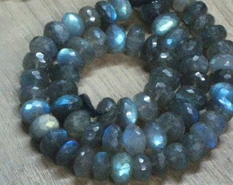 AAA -So Gorgeous  - Huge Size 8 - 7 mm Full Blue Multy Flashy Strong Fire - Labradorite - Micro Faceted Rondell Beads 16 Inches