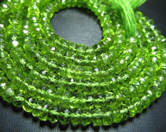 14 inches - AAA - Trully Amazing High Quality - Peridot - Sparkle Micro Faceted Rondell Beads Size 5 -  mm approx
