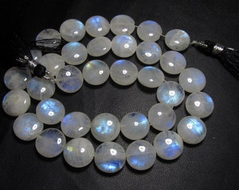 16 inches Neckless - AA - High Quality Gorgeous Rainbow Moonstone Smooth Polished Coin briolett - Calibrated Huge SIZE - 12x12 MM