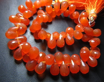 8 inches - so -gorgeous - high - quality - nice- colour - orange - CARNELIAN - Faceted- Tear Drops briolett - size  5 -8mm approx