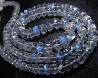 8inches Truly Amazing AAAAA - High Quality Rainbow Moonstone Micro Faceted Rondell Beads Huge size 6 - 3 mm Full Flashy and Nice clear