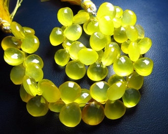 8 inches Gorgeous Yummy Yellow Colour Chalcedony Sparkle Faceted Heart Briolett size 8 - 9 mm approx 8 inch strand