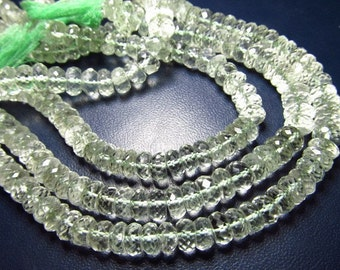 8 inches - AAAA Gorgeous Green Amethyst - Micro Faceted Rondell Beads Size 7 - 8  mm Approx