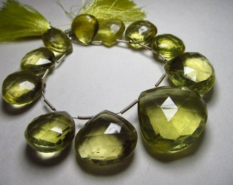 AAA - high quality amazing - yellow lemone quartz - super sparkle nice clear quality faceted heart  briolett - huge  size 15 - 18 mm approx