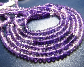 Amethyst - Shaded Really Gorgeous High Quality - Micro Faceted Rondelle Beads super sparkle size 3.5 mm 14 inches Long 2 strand