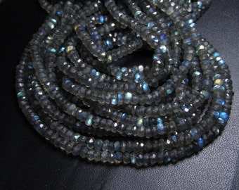 5 x 14 inches - AAA High Quality Gorgeous Full Flashy Fire Labradorite Super Sparle Micro Faceted Rondell Beads size 3 mm approx