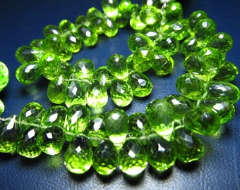 truly rare quality - AAAAA - high quality amazing parrot green colour natural - peridot - faceted tear drops  briolett - super sparkle - ni