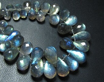 AAAAA -Trully Beautifull High Quality -Labradorite Super Sparkle Faceted Tear drops Briolett  Blue Flashy Fire Size - 4 - 8  mm 51 pcs