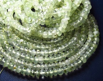 14 inches -nice quality -so goreous -Yellow green -PREHNITE -Smooth RONDELLe BEADS -size -4 - 4.5 mm