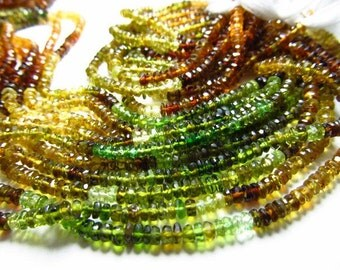 14 Inches - Micro Faceted AAA Petrol Tourmaline Rondell - -Micro Faceted Rondell -Rich Tourmaline - Size -3.5 - 4 mm