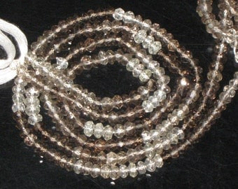 AAA - High Quality 14 Inches Gorgeous Shaded Smockey Quartz Micro Faceted Rondell Beads Size 4 mm approx