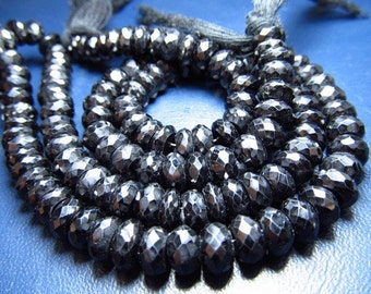 8 inches - AAA - high quality so gorgeous - diamond sparkle - black spinel - micro faceted - rondell beads - size 7 -6 mm approx great qual