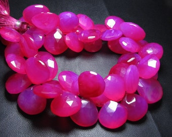 Truly Gorgeous Beautifull Quality Hot Pink Colour Chalcedony Super sparkle Huge Size 11 -12 mm Faceted Heart Briolett   8 inches full stran