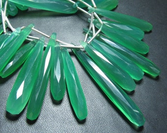7 inches - Emerald Green Chalcedony - Super Sparkle Faceted Long Elongated Drops Briolett huge size 20 - 40 mm approx