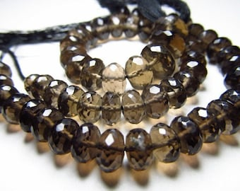 7.5 inches AAAA Gorgeous High Quality Nice Colour Eye Clean SMOCKEY Quartz Micro Faceted Rondell Beads Size 6 MM