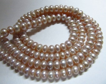 14 Inches Gorgeous Fresh Water Pearl rondell shape Gorgeous Light Pink Colour  size 6 mm