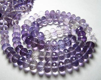 AAAA - high quality - brazil - AMETHYST- micro faceted rondell beads  16 inches full strand neckless - shaded - nice clear - size 7 - 6 mm