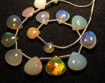 AAAA Trully High Quality Ethiopian Opal Smooth Polished Heart Briolett Size 4 - 8 mm approx 15pcs Every Pcs Beautifull Fire