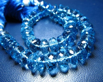 8 inches AAAAAAAA awesome high quality beautifull nice clean london blue topaz super sparkle micro faceted rondell beads size 7 - 8 mm