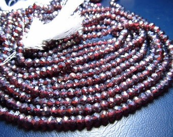 14 inches - diamond super super sparkle full shine - red garnet cotted - miro faceted - rondell beads amazing quality size 4 mm approx