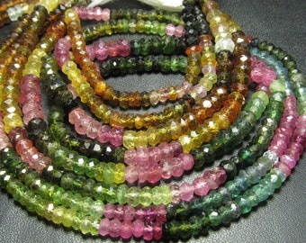 14 inches Amazing gorgeous Watermelone - TOURMALINE - Micro Faceted Rondell Beads Size 4 mm approx great quality