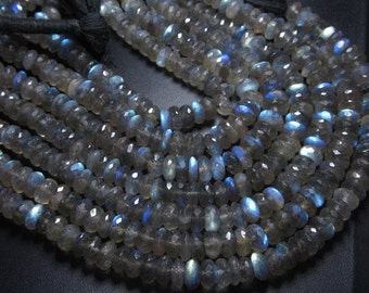 10 - Inches - AAAAA - Awesome - Truly High Quality Labradorite Full Blue Flashy Fire Micro Faceted Rondell Beads Huge size 7 mm approx