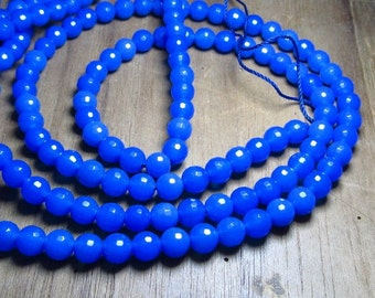 15 inches - so gorgeous - super sparkle  - Dark Blue CHALCEDONY-faceted  Round ball beads - size 6 mm