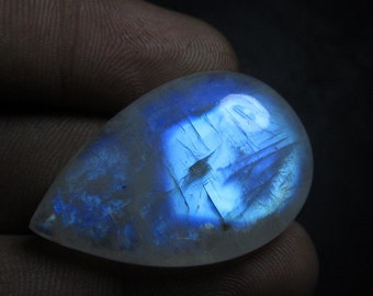 AA - Awesome Amazing Gorgeous Rainbow Moonstone Smooth Polished Pear Briolett Full Beautifull Rainbow Fire Really Huge Size 21x32mm