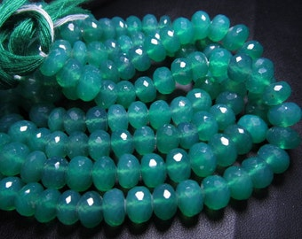 10 inches Truly Gorgeous High Quality Emarald Green Colour Green Onyx Super Sparkle Micro Faceted Rondell Beads Huge size 7 - 9mm
