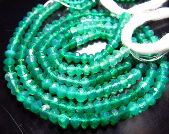14 inches- super -fine -High quality - so -Gorgeous - Emarald-Green- Colour- GREEN ONYX -shaded  micro faceted -Rondell -beads -size 4 mm