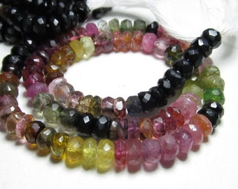 14 Inches - Gorgeous - Tourmaline - multy shaded - faceted - rondell beads huge size 4 mm approx unbelivable price