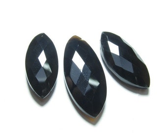 3pcs  - AAAA - High Quality Black Onyx  Faceted Marquise Briolett Huge Size 10x22 - 13x28 mm  approx