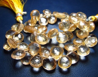 8 Inches - Very Finest -super sparkle - Sun Kissed - Yellow Mystic Quartz Micro Faceted - Heart-  Briolett - Size 9 - 8 mm Approx