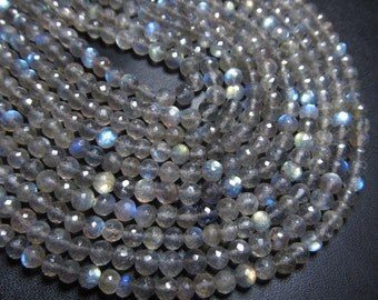 AAAA - 2x16 Inches Full Strand - Gorgeous Labradorite - Full Flashy Fire Super Sparkle Faceted Round Ball Beads Size 5 mm APPROX