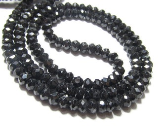 14 inches Neckless - AAAA - High Quality Super Shine Sparkle - BLACK SPINEL - Micro faceted Rondell beads - size 3 mm approx