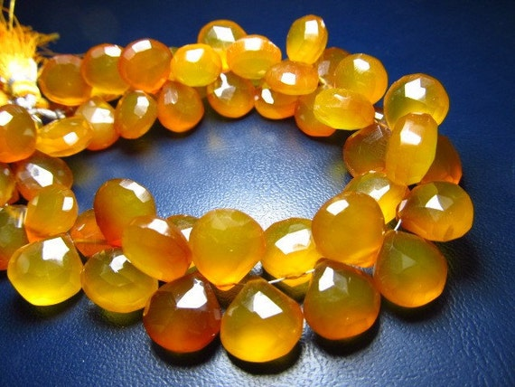 8 Inches -- Super Finest - amazing Color --Yellow -Brown Chalcedony Faceted huge Size heart Briolettes - Size 12 - 14mm