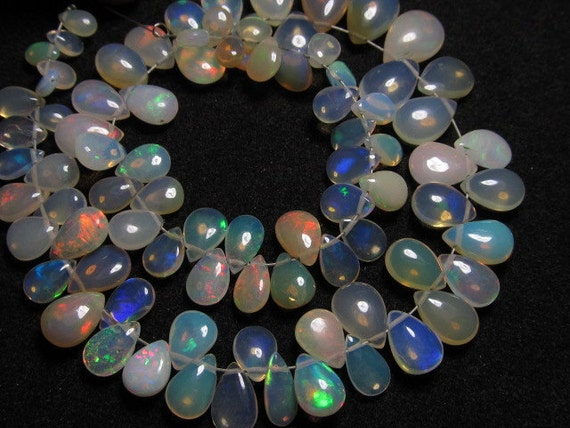 9 inches strand Trully Nice Quality - Ethiopian Opal - Smooth Polished Pear Briolett Full Flashy amazing Fire Huge size 5x7 - 8x11 -  85pcs