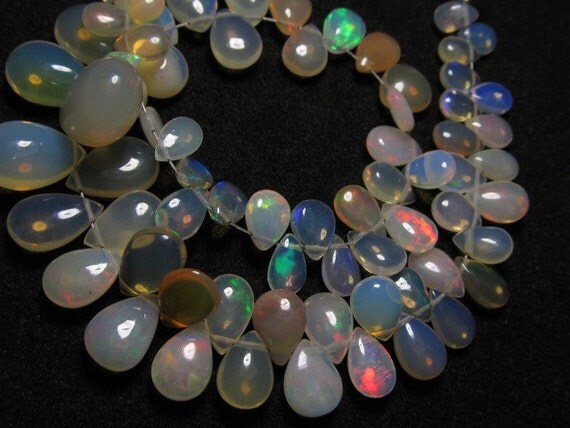 8 inches strand Trully Nice Quality - Ethiopian Opal - Smooth Polished Pear Briolett Full Flashy amazing Fire Huge size 5x4 - 10x13 -  75pc