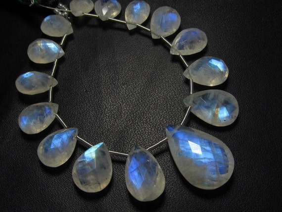 AAAA - high quality  - RAINBOW MOONSTONE-faceted pear briolett - each pcs have full flashy strong fire - size - 7x10 - 12.5x19.5 mm - 21pcs