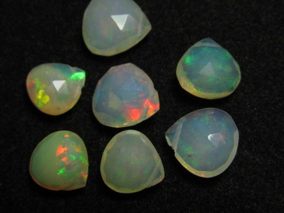 7 pcs - Trully Awesome - AAAA - HiGH Quality Ethiopian - OPAL - Super Shine Full Colour Fire Faceted Heart Briolett - Size 8 - 10  mm