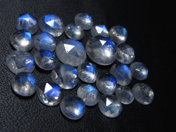 5 - 8mm - 25pcs - AAAA high Quality Rainbow Moonstone Super Sparkle Rose Cut Faceted Round -Each Pcs Full Flashy Gorgeous Fire