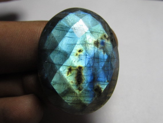 25x32 MM - Really Huge Size  - Stunning Quality - Labradorite - Chekar Cut Oval Cabochon Full  Flashy Fire Sparkle
