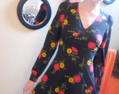 vintage 1970s Black Floral Mini Dress